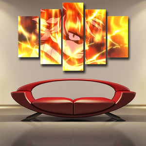 Fairy Tail Natsu Scary Gaze Flaming Scene 5pcs Canvas Print