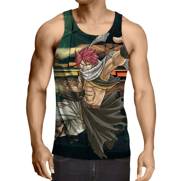 Fairy Tail Rugged Natsu Excited For Adventure Green Tank Top