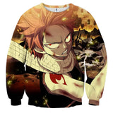 Fairy Tail Scary Natsu Angry Wounded Face Orange Sweatshirt