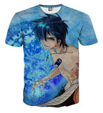 Fairy Tail Gray Naked Handsome Full Print Blue T-Shirt