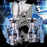 Gintama Sakata Gintoki Blue And Gray Outfit Zip Up Hoodie
