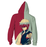 Gintama Sakata Gintoki Gray And Maroon Vector Design Hoodie