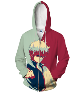Gintama Sakata Gintoki Gray And Maroon Vector Zip Up Hoodie