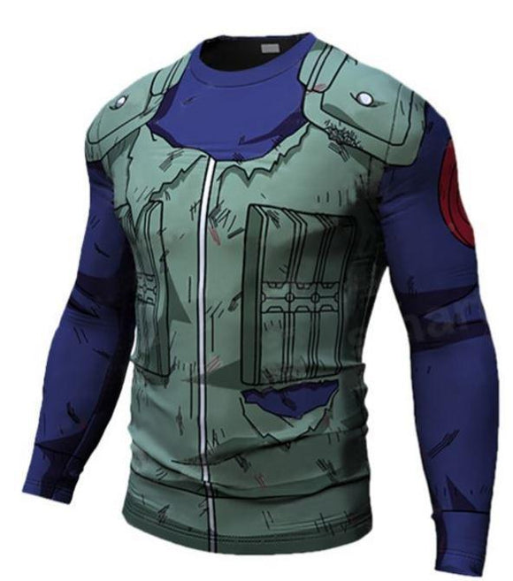 Kakashi Hatake Konoha Damaged Green Flak Jacket 3D Workout Long Sleeves T-Shirt - Konoha Stuff