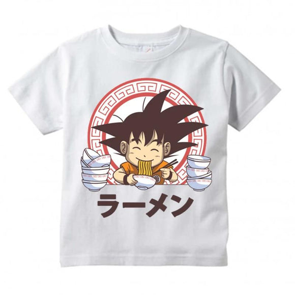 Dragon Ball Z Kid Goku Greedy Eating White Kids T-Shirt