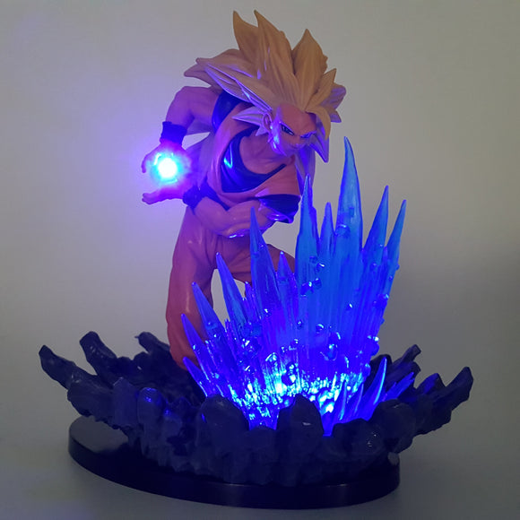 SSJ3 Goku 3 Super Saiyan Kamehameha Wave Blue Aura DIY 3D LED Light Lamp