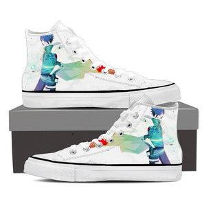 Naruto Anime Cool Uchiha Sasuke Chidori White Sneakers Shoes