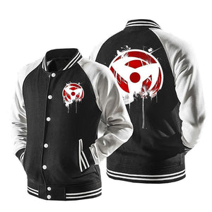 Naruto Anime Obito Uchiha Mangekyou Sharingan Eyes Baseball Varsity Jacket
