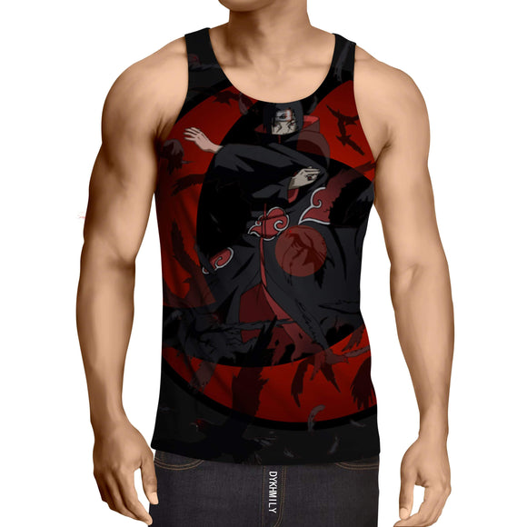 Naruto Itachi Uchiha Sharingan Illusion Mirage Crow Tank Top
