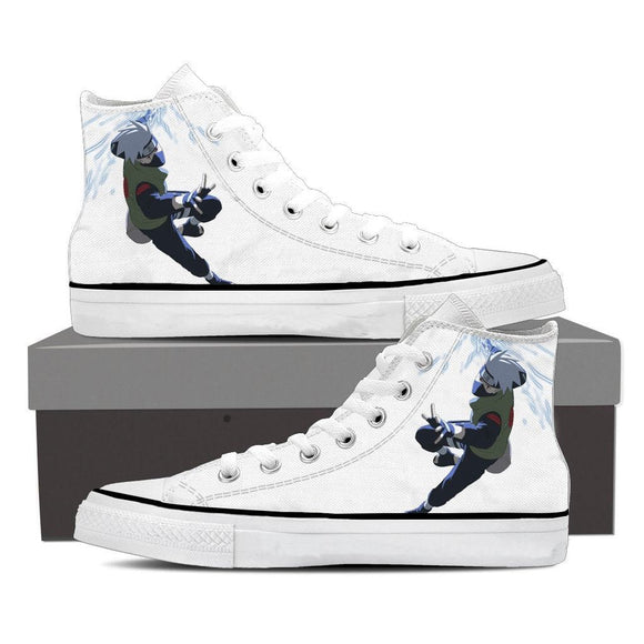 Naruto Kakashi Hatake Lightning Chidori White Sneakers Shoes
