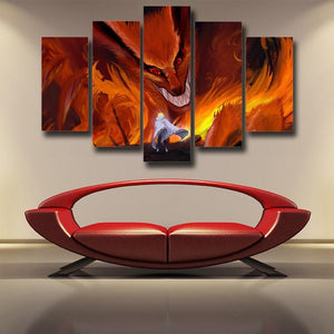 Naruto Kurama Fire Monster Fox Fanart Dope Orange 5pcs Canvas