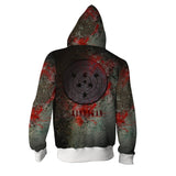 Naruto Sasuke And Madara Rinnegan Blood Stain Zipper Hoodie