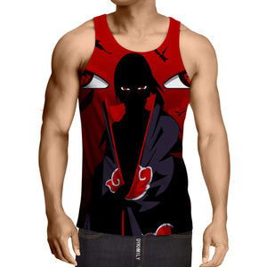 Naruto Uchiha Itachi Shadow Mangekyo Sharingan Red Tank Top