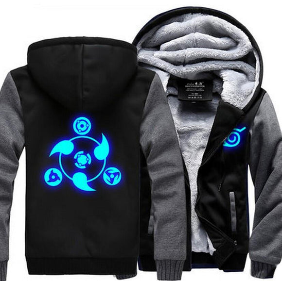 Naruto Uchiha Sharingan Luminous Copy Wheel Eye Gray Black Hooded Jacket - Konoha Stuff
