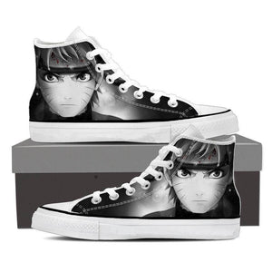 Naruto Uzumaki Face Portrait Black And White Sneakers Shoes