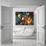 One-Punch Man Aggressive Genos Fighting Green 1pc Wall Art