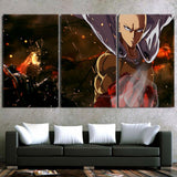 One-Punch Man Angry Saitama Victory Pose Portrait 3pcs Canvas