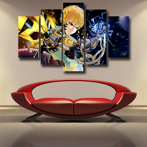 One-Punch Man Genos Serious Cyborg Vibrant 5pcs Canvas Print