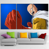 One-Punch Man Saitama Bald Hero Big Laugh Blue 3pcs Canvas