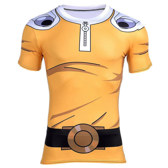 One-Punch Man Saitama Costume Cosplay Yellow 3D Gym T-Shirt - Konoha Stuff