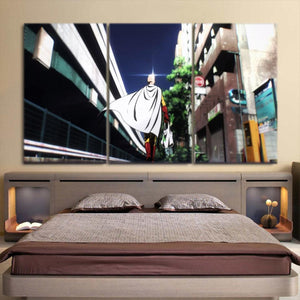 One-Punch Man Saitama Going To The Market 3pcs Canvas Print