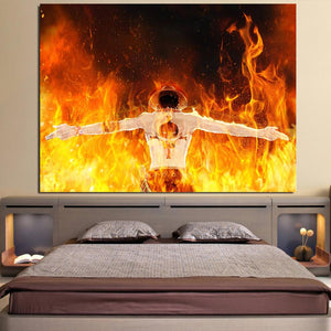 One Piece Ace Standing In Flames Back View Orange 1pc Canvas