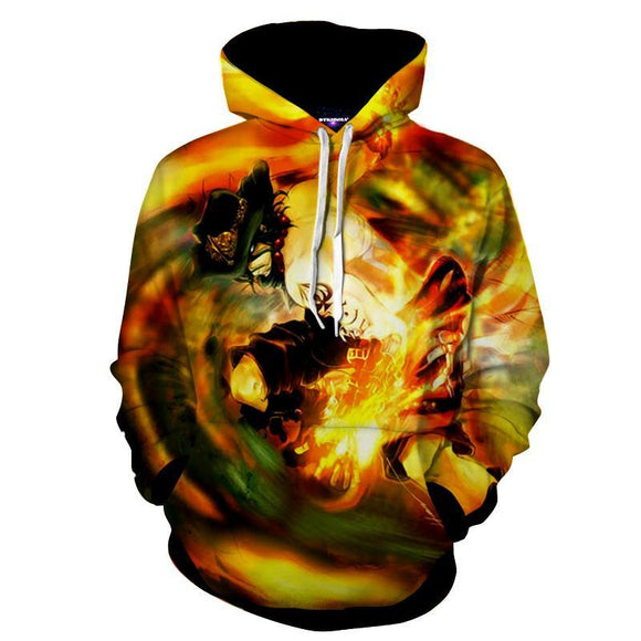 One Piece Cool Ace Fire Fist Burning Hand Skill Hoodie