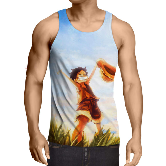 One Piece Happy Young Monkey D. Luffy Sunset Scenery Tank Top