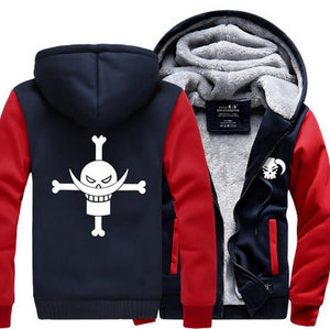 One Piece Portgas D. Ace Fire Fist Ace Symbol Red Navy Hooded Jacket - Konoha Stuff
