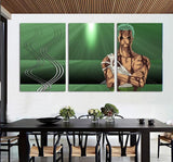 One Piece Roronoa Zoro Covered In Blood Green 3pcs Wall Art