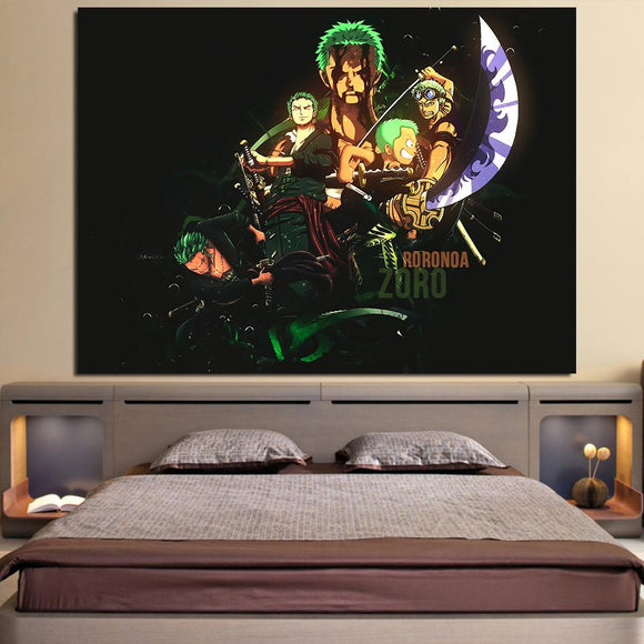 One Piece Roronoa Zoro Swordsman Timeline Black 1pc Wall Art
