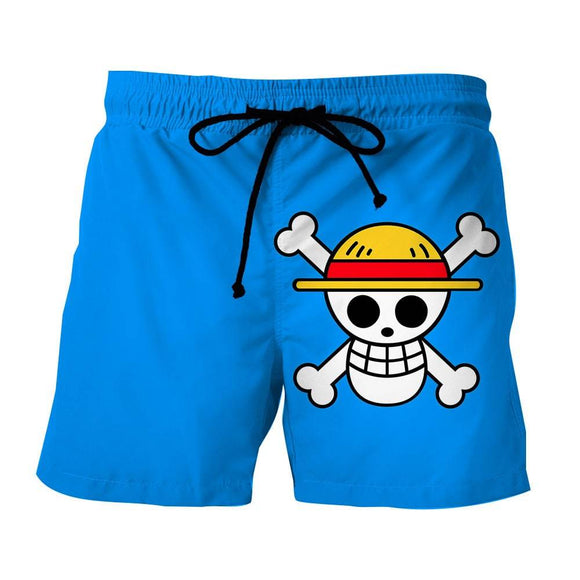 One Piece Straw Hat Pirate Logo Awesome Blue Boardshorts