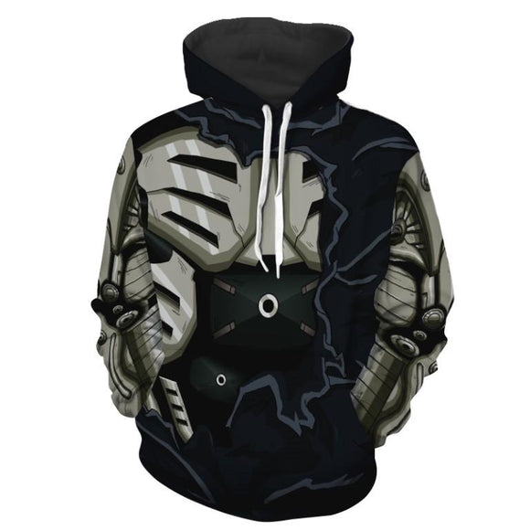 One Punch Man Genos Cyborg Body Torn Design Cosplay Hoodie
