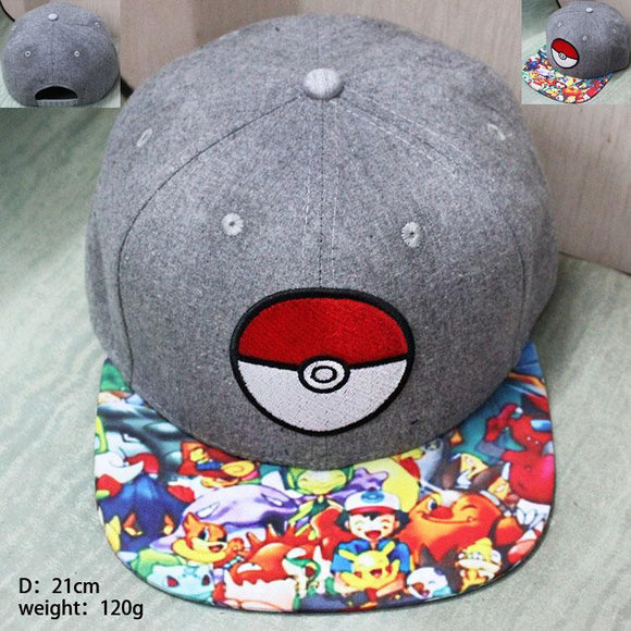 Pokémon Cartoon Satoshi And His Friends Colorful Grey Snapback - Konoha Stuff