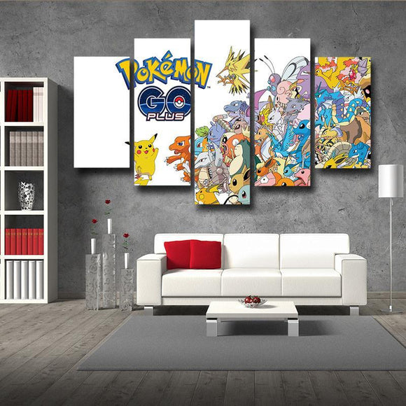 Pokemon GO All Species Pikachu Logo 5pc Decor Posters Canvas Prints