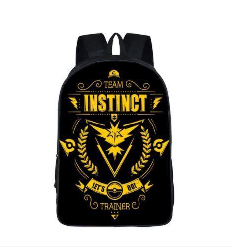 Pokemon GO Team Instinct Trainer Symbol School Bag Backpack