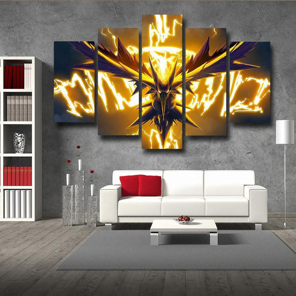 Pokemon Zapdos Legendary Thunder Bird 5pc Wall Art Decor Canvas Prints