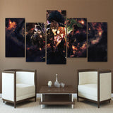 SAO Kirito And Asuna Couple Black Asymmetrical 5pcs Wall Art