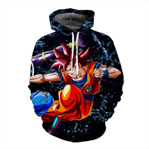 Battle Beerus God of Destruction Goku Super Saiyan Fighting Cool Hoodie