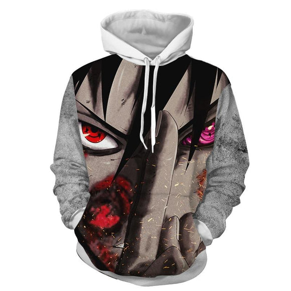Naruto Sasuke Intimidating Purple And Red Eyes Cool Hoodie
