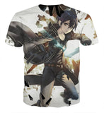 Sword Art Online Kirito-Kun Sword Wielding Hero White T-Shirt