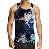 Sword Art Online Kirito Black And White Hair Color Tank Top