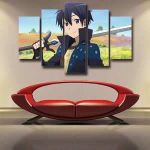 Sword Art Online Kirito Cheerful Bright Smile 5pcs Wall Art