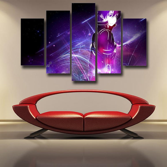 Sword Art Online Lonely Kirito Sad Face Purple 5pcs Wall Art