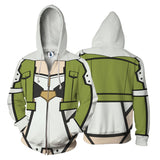 Sword Art Online SAO Asada Shino Sinon Cosplay Zipper Hoodie