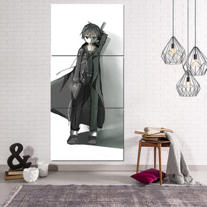 Sword Art Online SAO Chibi Kirito White 3pcs Vertical Canvas