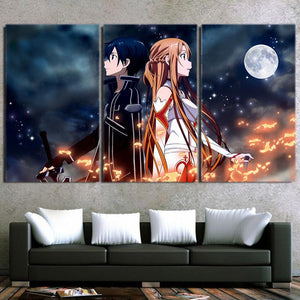Sword Art Online SAO Kirito Asuna Together Black 3pcs Canvas