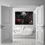 Tokyo Ghoul Anime Ken Kaneki Fighting Black 1pc Canvas Print