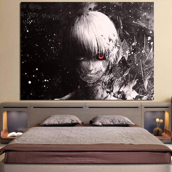 Tokyo Ghoul Ken Kaneki Black And White Scary 1pc Canvas Print