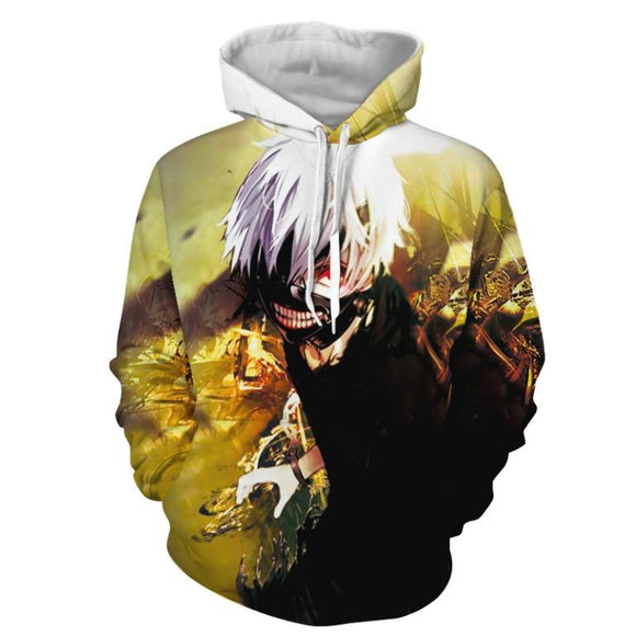 Tokyo Ghoul Ken Kaneki Bright Trendy Fighting Yellow Hoodie